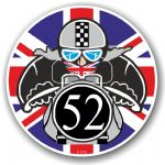 Year Dated 1952 Cafe Racer Roundel Design & Union Jack Flag Vinyl Car sticker decal 90x90mm